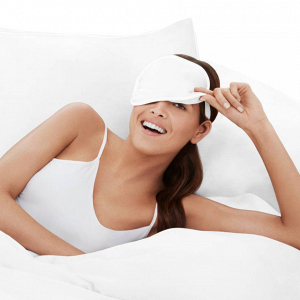 Sleep pillow and eye mask set with copper