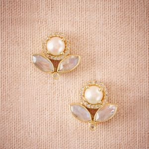 Pearl, crystal, and moonstone bridal earrings