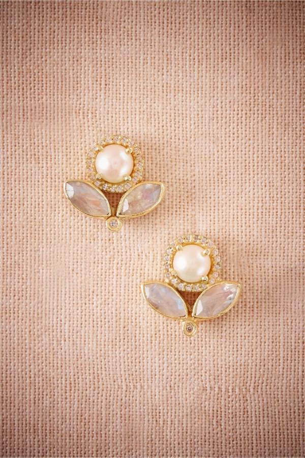 Pearl, crystal, and moonstone bridal earrings