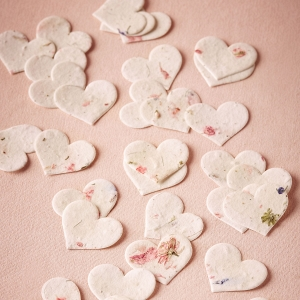 Heart-shaped wildflower seed paper favors
