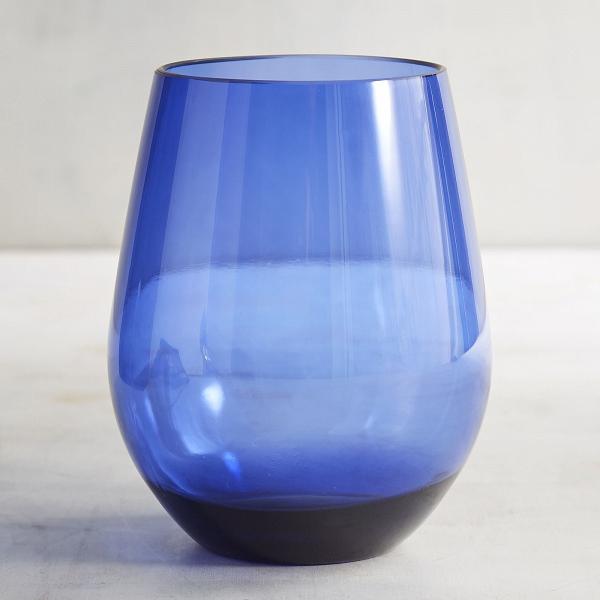 Blue stemless wine glass