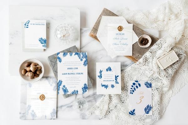 Blue fern invitation suite