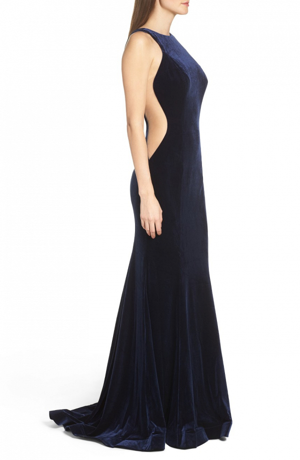 Blue Velvet Bridesmaid Dress