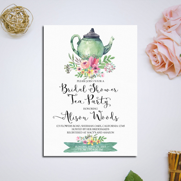 Bridal shower tea party invitation printable aisle society bridal shower tea party invite filmwisefo
