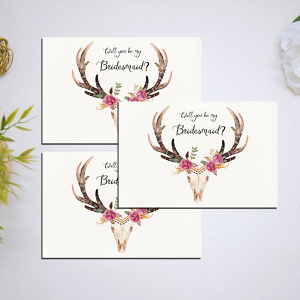 Be my bridesmaid printable flowered antler card