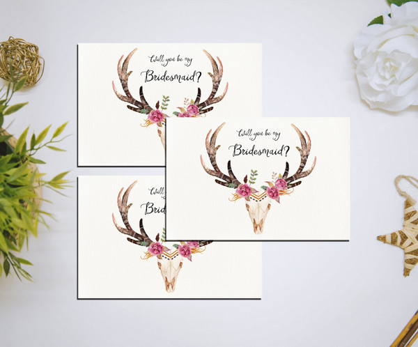 graphic about Printable Deer Antlers called Be My Bridesmaid Deer Antler Printable - Aisle Lifestyle