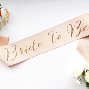 Bride-to-be sash in gold and pink