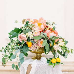 Peony and citrus centerpiece