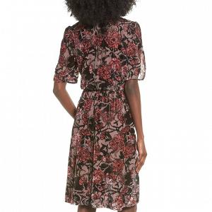 Burnout Floral Velvet Bridesmaid Dress