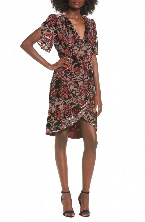 Burnout Floral Velvet Dress