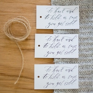 Free calligraphed tags for winter wedding blankets