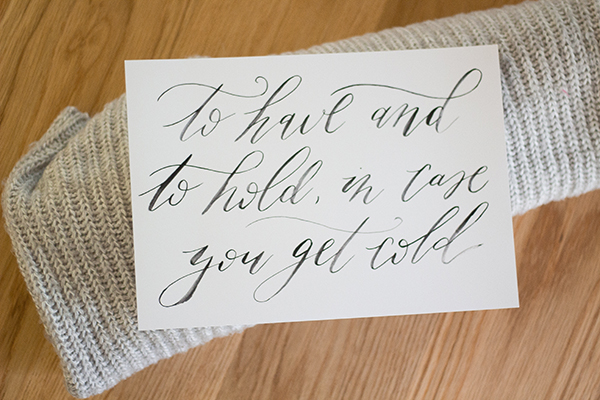 Free calligraphed sign for winter wedding blankets