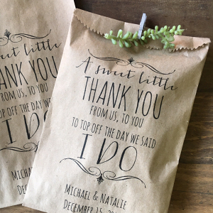 Kraft paper wedding favor thank-you bag