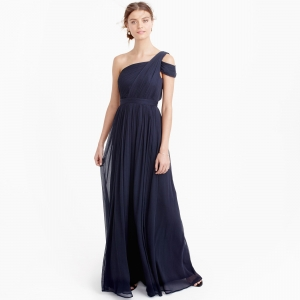 Long navy-colored bridesmaid dress in silk chiffon