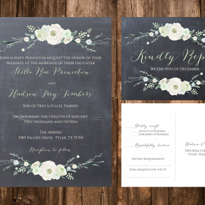Chalkboard Winter Floral Wedding Invites
