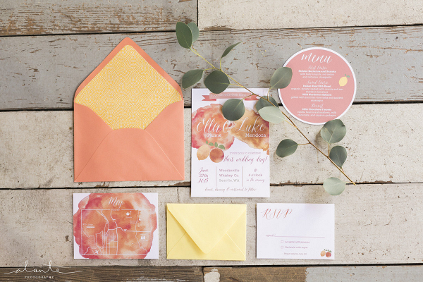 Citrus-inspired invitation suite