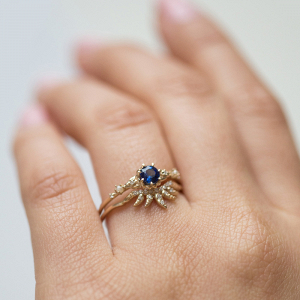Modern sapphire engagement ring
