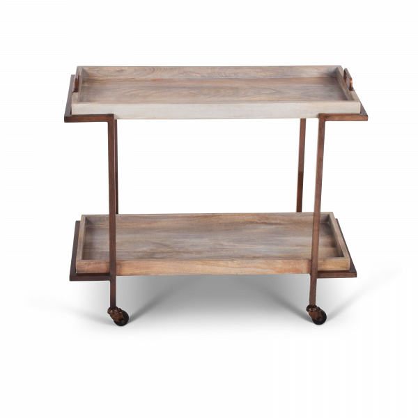 'Conway' mango wood bar cart