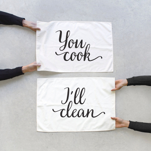 His and hers tea towel set