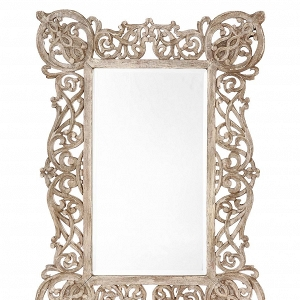 Ornate antiqued copper mirror