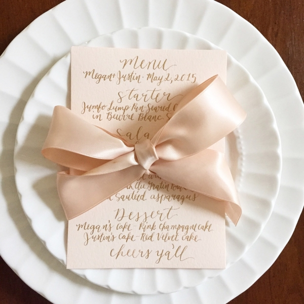 Custom calligraphy menu card