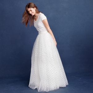 Tulle bridal skirt with metallic dots
