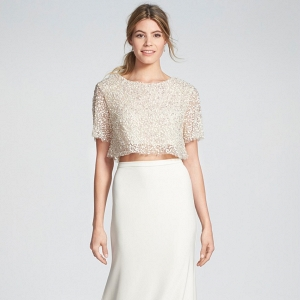 Sequined crop top with a crepe trumpet skirt