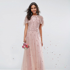 Beaded Flutter Sleeve Bridesmaid Dress