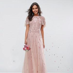 Beaded Flutter Sleeve Bridesmaid Dress