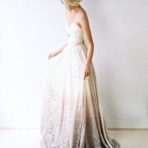 Dip-dyed lace wedding dress