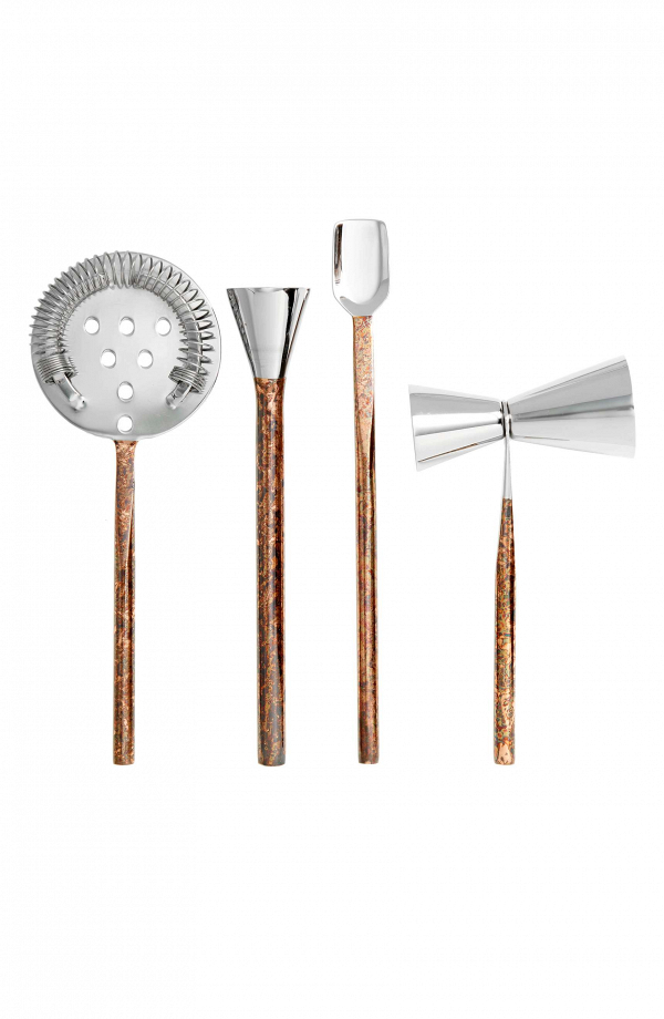 Distressed copper and stainless steel bar set