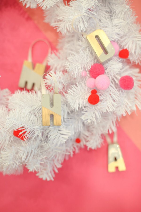 DIY Gilded Cement Letter Ornaments