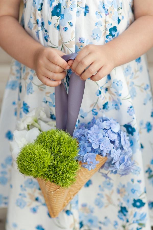 DIY ice cream cone bouquets for summer flower girls