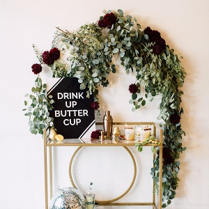 Fall-inspired bar cart