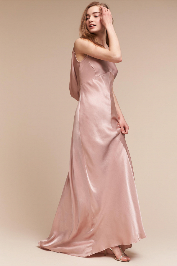 Pink satin bridesmaid dress