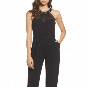 Embellished Chiffon Neck Jumpsuit