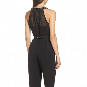 Embellished Illusion Neck Jumpsuit