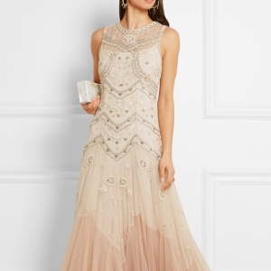 Embellished and embroidered tulle gown in a peach hue