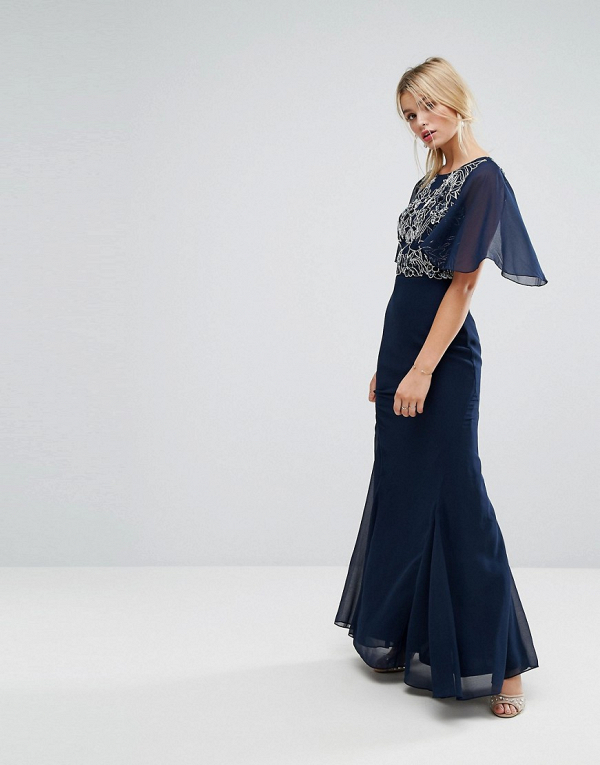 Embellished Maxi Dress With Fluted Chiffon Sleeves Aisle