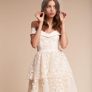Short Wedding Dress with Floral Embellishments