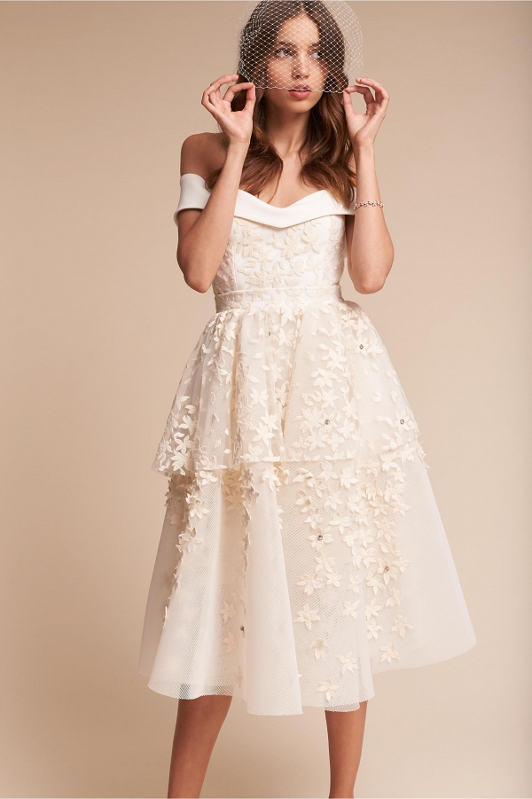 Short Wedding Dress with Floral Embellishments