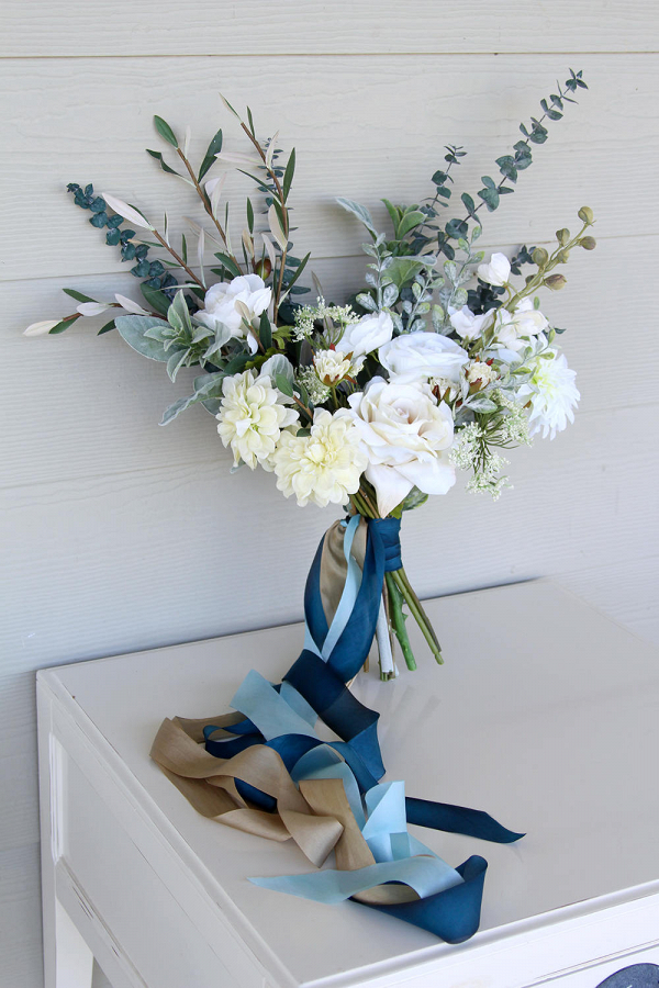 Something Blue Eucalyptus Silk Flower Bouquet