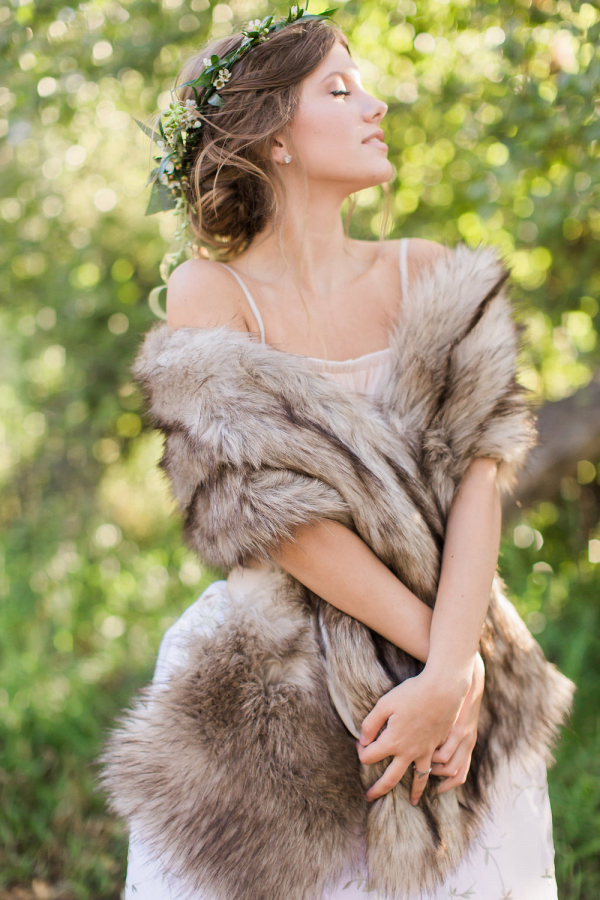 Faux Wolf Fur Wrap