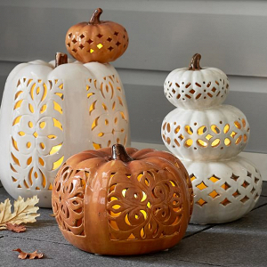 Filigree Punched Ceramic Pumpkins