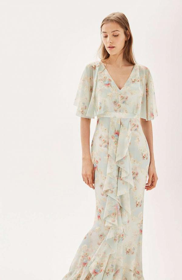 Vintage floral bridesmaid dress