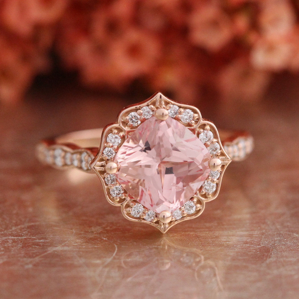 Vintage floral peach sapphire engagement ring aisle society peach sapphire engagement ring junglespirit Choice Image