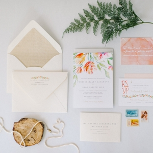 Floral watercolor invitation suite