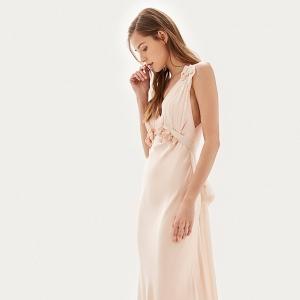 Floral appliqué sheath gown