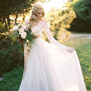 Airy chiffon bridal skirt