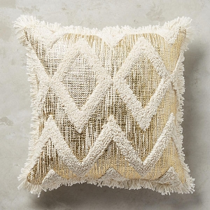 Gold foil and fringe pillow